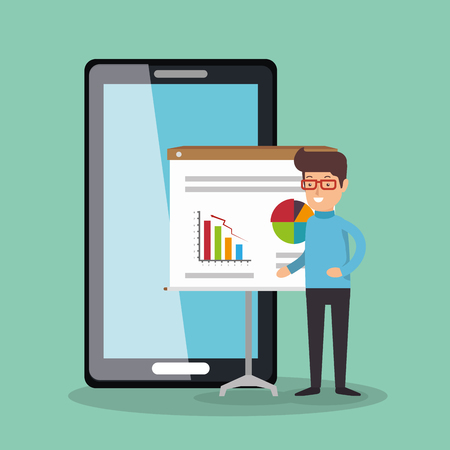 Illustration pour businessman working with smartphone vector illustration design - image libre de droit