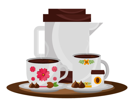 Illustration pour coffee maker and cups with chips chocolate vector illustration - image libre de droit