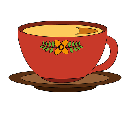Illustration for flowers decorative coffee cup ceramic on dish vector illustration - Royalty Free Image