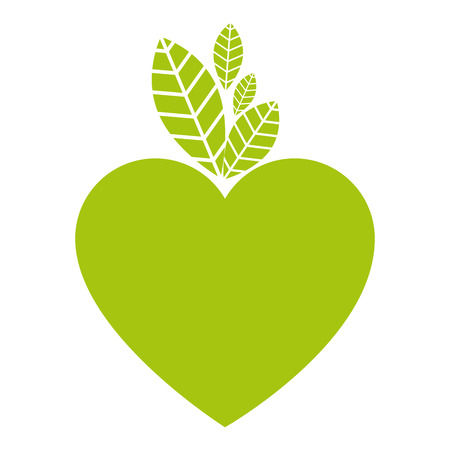 Ilustración de heart and leafs ecology icon vector illustration design - Imagen libre de derechos