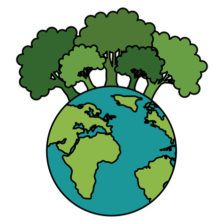 Illustration for save the planet earth with forest trees ecology vector illustration design - Royalty Free Image