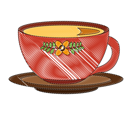 Illustration for delicious tea cup with dish vector illustration design - Royalty Free Image