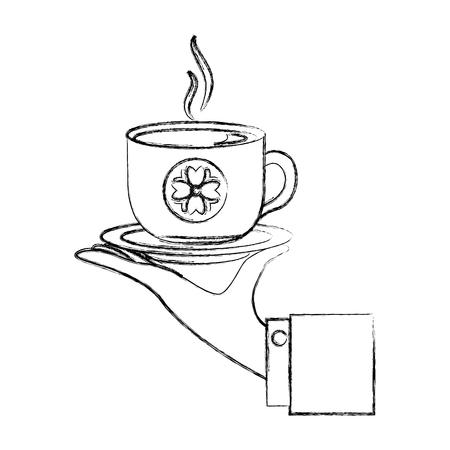 Illustration pour hand holding hot tea cup decoration flowers vector illustration sketch - image libre de droit