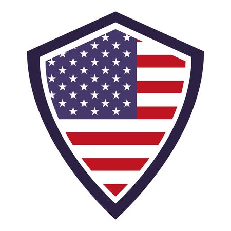 Illustration pour united  states of america flag in shield symbol vector illustration - image libre de droit