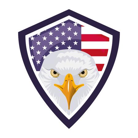 Illustration pour american eagle usa flag shield emblem vector illustration - image libre de droit