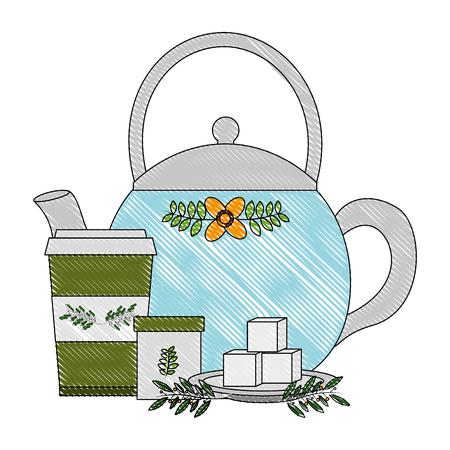 Ilustración de teapot ceramic paper cup tea sugar cubes and leaves vector illustration drawing - Imagen libre de derechos