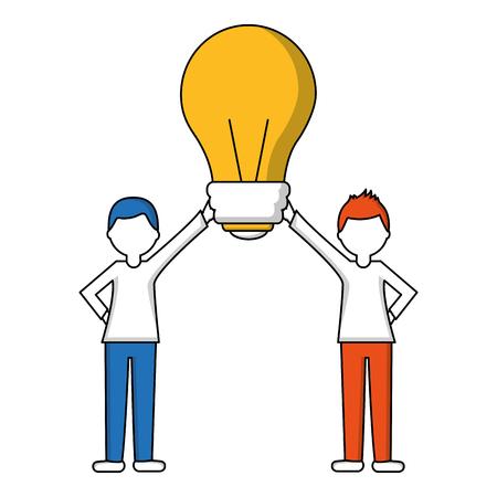 Illustration for people holding together bulb idea vector illustration - Royalty Free Image