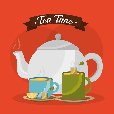 Illustration for teapot and cups hot beverages with lemon - tea time vector illustration - Royalty Free Image
