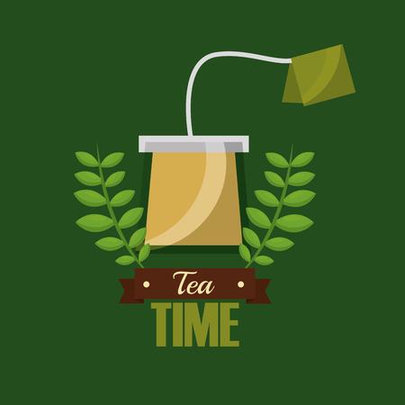 Ilustración de teabag herbal flavor aroma tea time vector illustration - Imagen libre de derechos