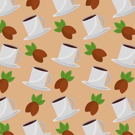 Illustration for coffee time cup beverage fresh seeds background design vector illustration - Royalty Free Image