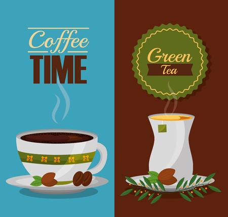 Ilustración de coffee and tea time cups and leaves design vector illustration - Imagen libre de derechos