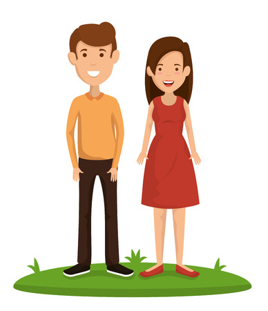 Illustration pour couple friends happy characters vector illustration design - image libre de droit