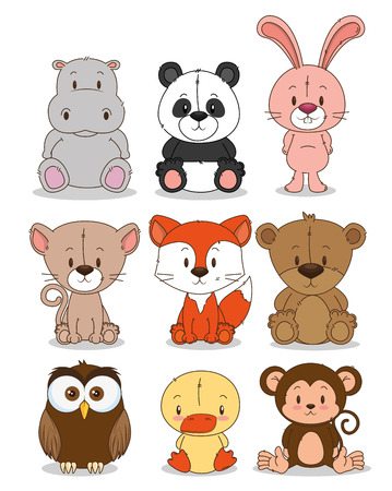 Illustrazione per little cute animals group vector illustration design - Immagini Royalty Free