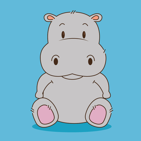 Illustration for cute little hippo character vector illustration design - Royalty Free Image