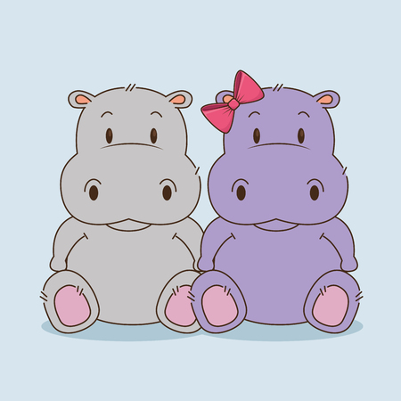 Illustration for cute little hippos couple characters vector illustration design - Royalty Free Image
