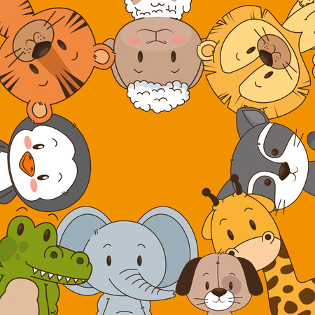 Ilustración de little and cute animals group vector illustration design - Imagen libre de derechos