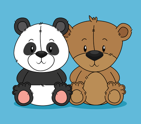 Ilustración de cute bear teddy and panda characters vector illustration design - Imagen libre de derechos