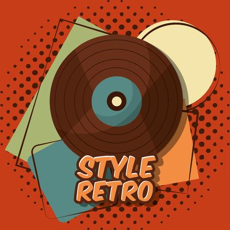 Illustration pour retro vintage vinyl lp record music halftone background vector illustration - image libre de droit