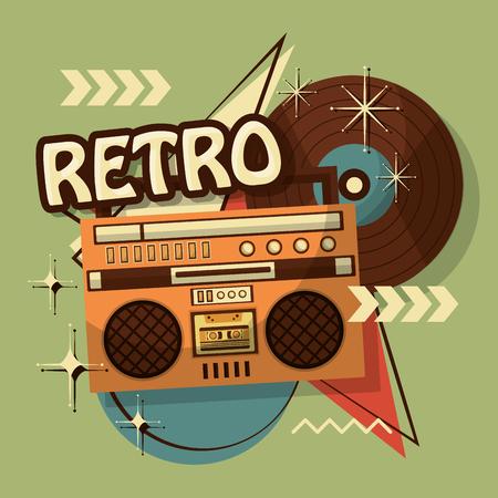 Illustration pour music boombox vinyl disk retro vintage memphis background vector illustration - image libre de droit