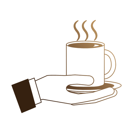 Illustration for hand with delicious coffee cup isolated icon vector illustration design - Royalty Free Image