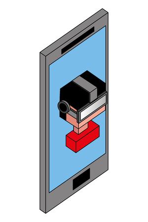 Illustration pour boy using vr goggles on screen smartphone vector illustration isometric - image libre de droit