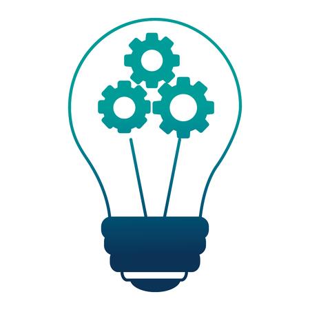 Illustrazione per bulb idea creativity with gears inside teamwork vector illustration neon design - Immagini Royalty Free