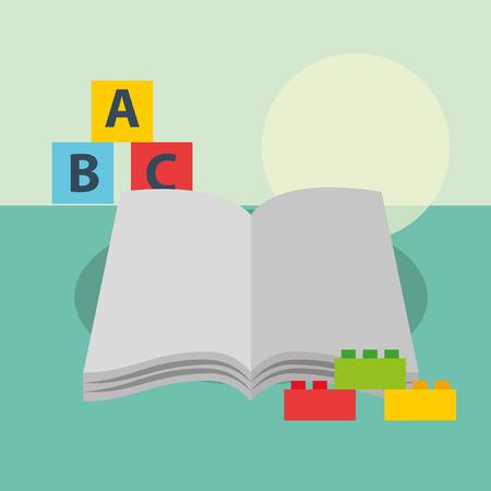 Ilustración de open book blocks alphabet and plastic pieces bricks vector illustration - Imagen libre de derechos