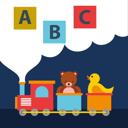 Illustration for bear teddy and duck in train wagon blocks alphabet toys vector illustration - Royalty Free Image