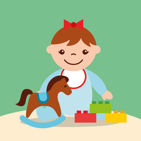 Ilustración de cute little girl rocking horse and blocks bricks toys vector illustration - Imagen libre de derechos