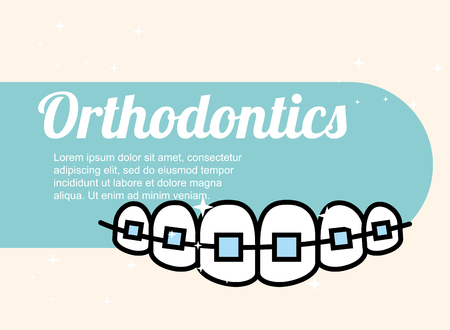 Ilustración de orthodontics dental care treatment banner vector illustration - Imagen libre de derechos