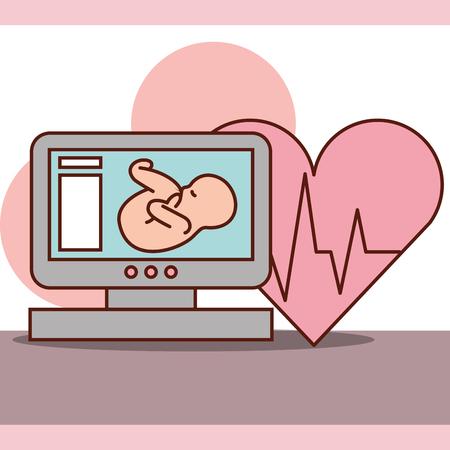 Illustration pour pregnancy fertilization fetal monitoring heart life line vector illustration - image libre de droit