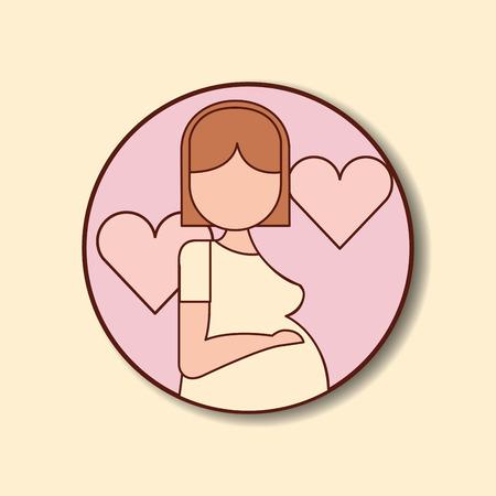 Ilustración de pregnancy fertilization stickers mother waiting baby hearts love vector illustration - Imagen libre de derechos