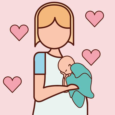 Illustrazione per pregnancy fertilization mother holding born baby love hearts vector illustration - Immagini Royalty Free