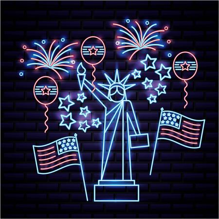 Illustration pour american independence day statue of liberty neon fireworks balloons flag united states vector illustration - image libre de droit