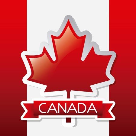 Illustration pour independence canada day red ribbon design flag vector illustration - image libre de droit