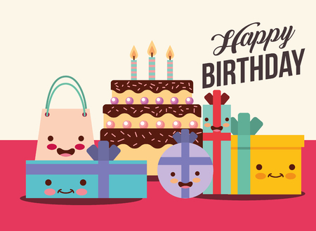 Illustration pour set of gift boxes and cake cartoon happy birthday card vector illustration - image libre de droit