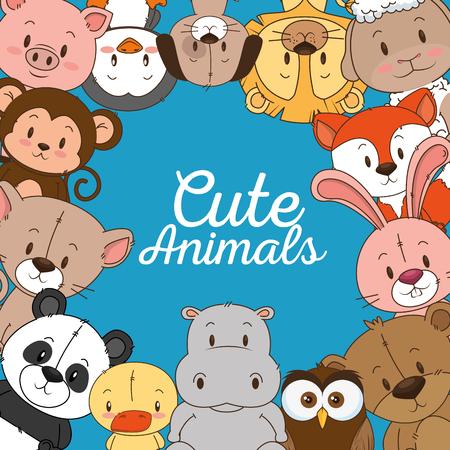 Ilustración de little and cute animals group vector illustration design - Imagen libre de derechos
