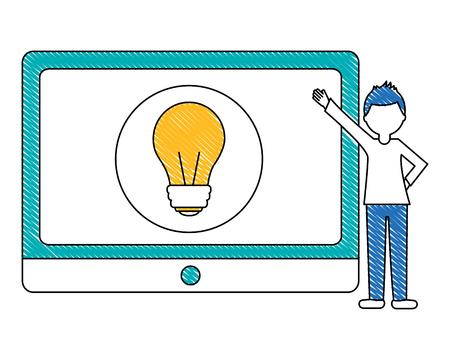 Illustration pour man pointing tablet with light bulb idea innovation vector illustration - image libre de droit