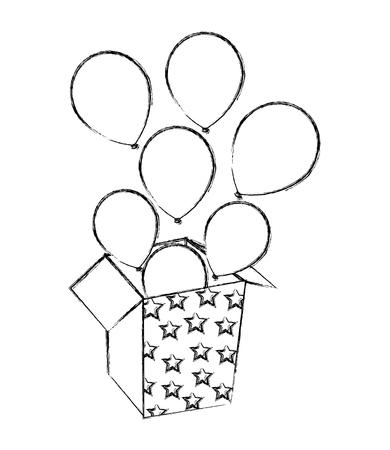 Illustration pour balloons coming out of the box party vector illustration - image libre de droit