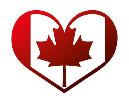 Illustration pour canada day canadian flag in heart vector illustration neon - image libre de droit