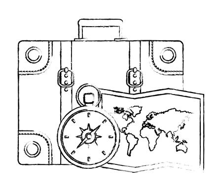 Illustrazione per suitcase travel compass and map vector illustration - Immagini Royalty Free