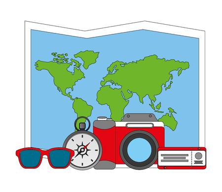 Illustration pour travel world map camera air ticket compass sunglasses vector illustration - image libre de droit