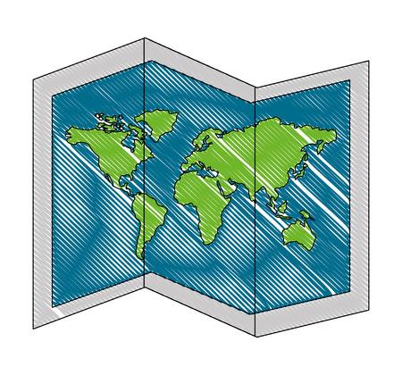 Illustration for world paper map icon vector illustration design - Royalty Free Image