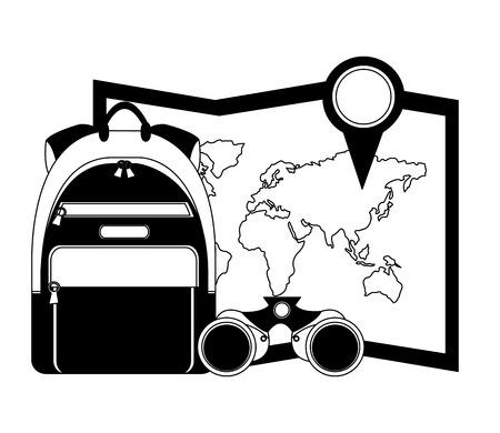 Ilustración de travel rucksack map location pin and binoculars vector illustration - Imagen libre de derechos