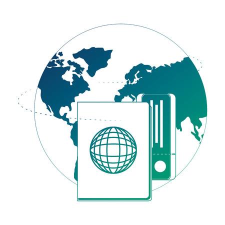 Illustration pour world planet earth with passport and ticket vector illustration design - image libre de droit