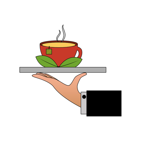 Illustration for hand with tray and delicious herbs tea cup vector illustration design - Royalty Free Image