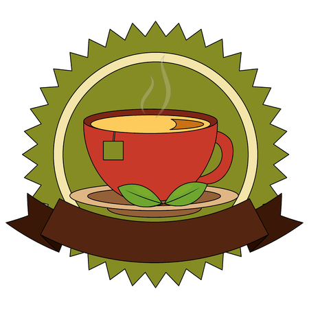 Illustration for lace of delicious herbs tea cup with ribbon isolated icon vector illustration design - Royalty Free Image