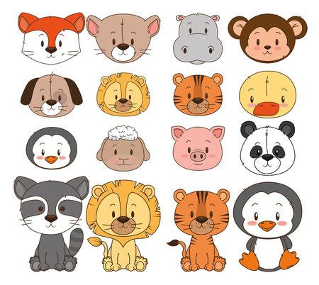 Illustrazione per little and cute animals group vector illustration design - Immagini Royalty Free