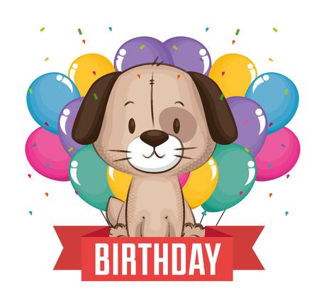Illustration pour little cute dog birthday card vector illustration design - image libre de droit