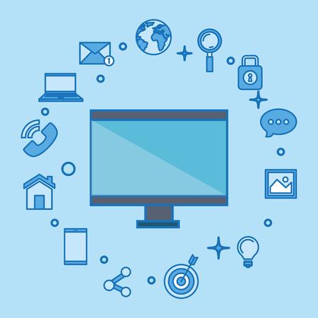 Illustration pour computer display with social media marketing icons vector illustration design - image libre de droit